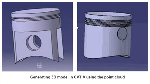 Generating 3D model in CATIA using the point cloud